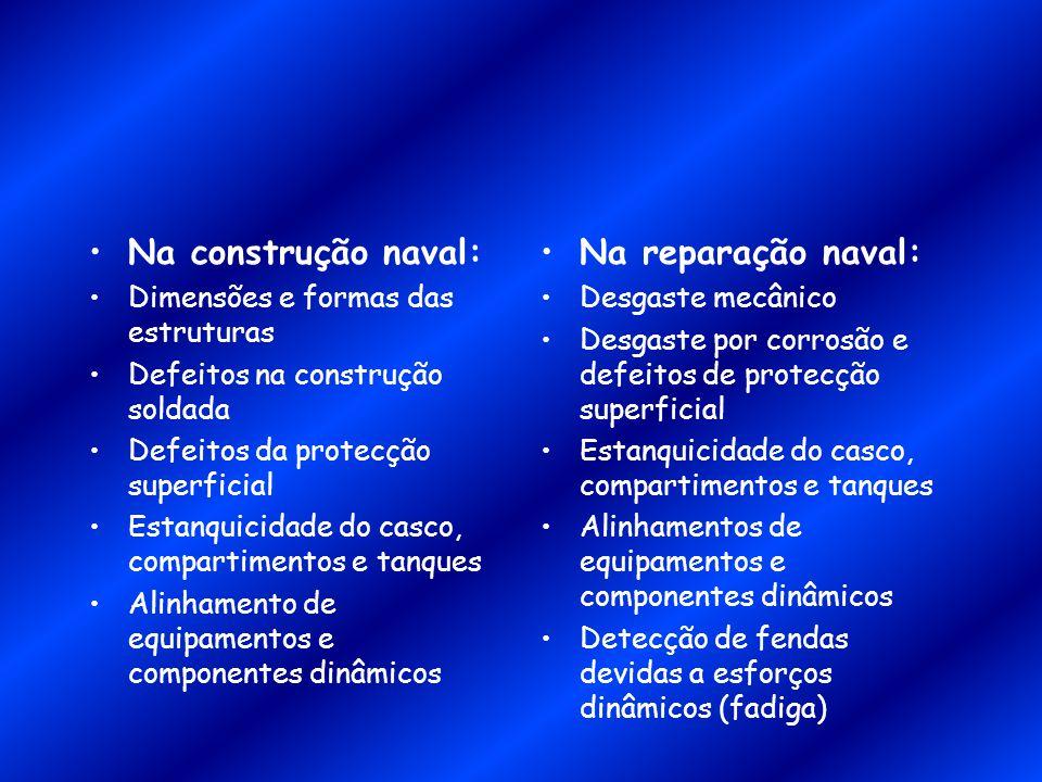 Na construção naval: Dimensões e formas das estruturas Defeitos na construção soldada Defeitos da protecção superficial Estanquicidade do casco, compa
