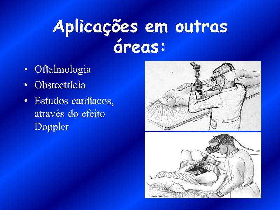 Aplicações em outras áreas: Oftalmologia Obstectrícia Estudos cardíacos, através do efeito Doppler