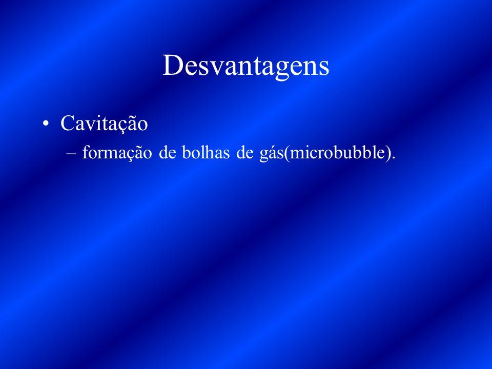 Desvantagens Cavitação –formação de bolhas de gás(microbubble).