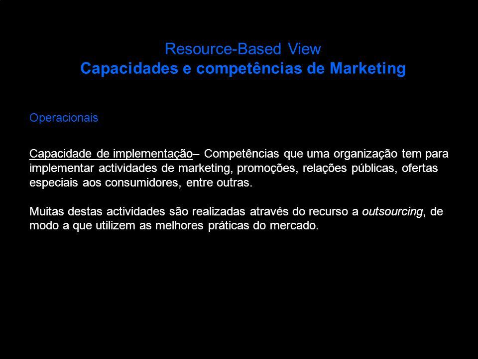 Resource-Based View Capacidades e competências de Marketing Operacionais Capacidade de implementação– Competências que uma organização tem para implem