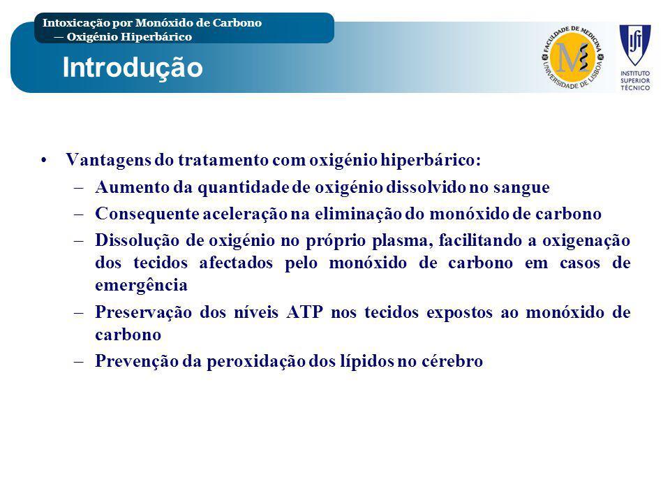 Intoxicação por Monóxido de Carbono Oxigénio Hiperbárico Procedimentos Todos aceitaram o protocolo de três sessões numa câmara hiperbárica individual, com intervalos de 6 a 12 horas