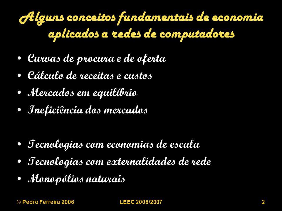 © Pedro Ferreira 2006LEEC 2006/200723 Regulação de taxa de retorno e/ou preços Taxa de retorno com vários produtos: –Despesa Operacional: DO –Quantidade vendida do produto i: Qi –Preço de venda do produto i: Pi –Capital investido: K –Taxa de retorno: r Receita = produtos Q i.P i = DO + r.K Regulação: r < r aceitável
