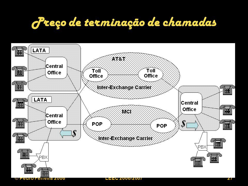 © Pedro Ferreira 2006LEEC 2006/200727 Preço de terminação de chamadas $ $