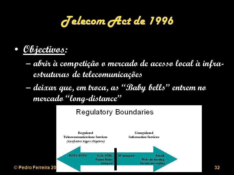 © Pedro Ferreira 2006LEEC 2006/200732 Telecom Act de 1996 Objectivos: –abrir à competição o mercado de acesso local à infra- estruturas de telecomunicações –deixar que, em troca, as Baby bells entrem no mercado long-distance