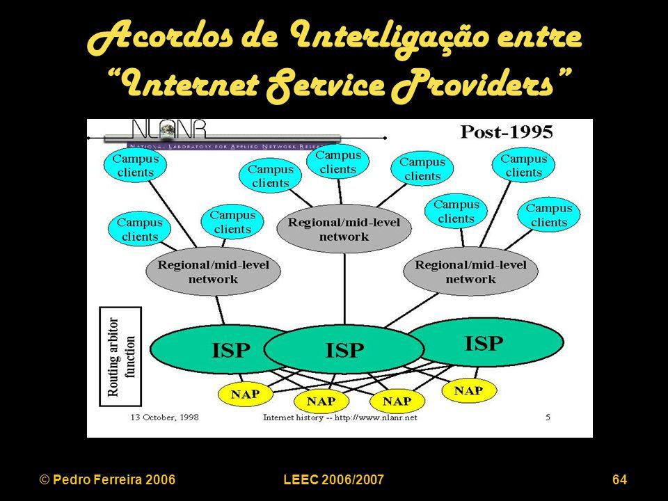 © Pedro Ferreira 2006LEEC 2006/200764 Acordos de Interligação entre Internet Service Providers
