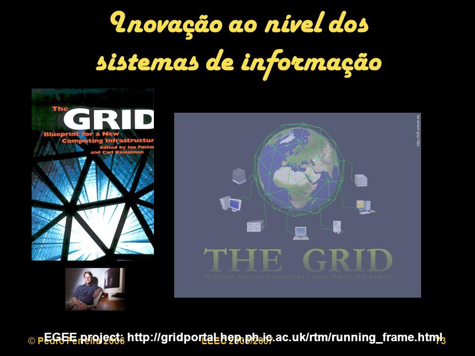 © Pedro Ferreira 2006LEEC 2006/200773 Inovação ao nível dos sistemas de informação EGEE project: http://gridportal.hep.ph.ic.ac.uk/rtm/running_frame.html