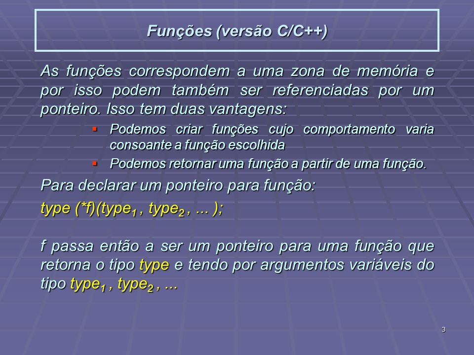 3 Funções (versão C/C++) As funções correspondem a uma zona de memória e por isso podem também ser referenciadas por um ponteiro. Isso tem duas vantag