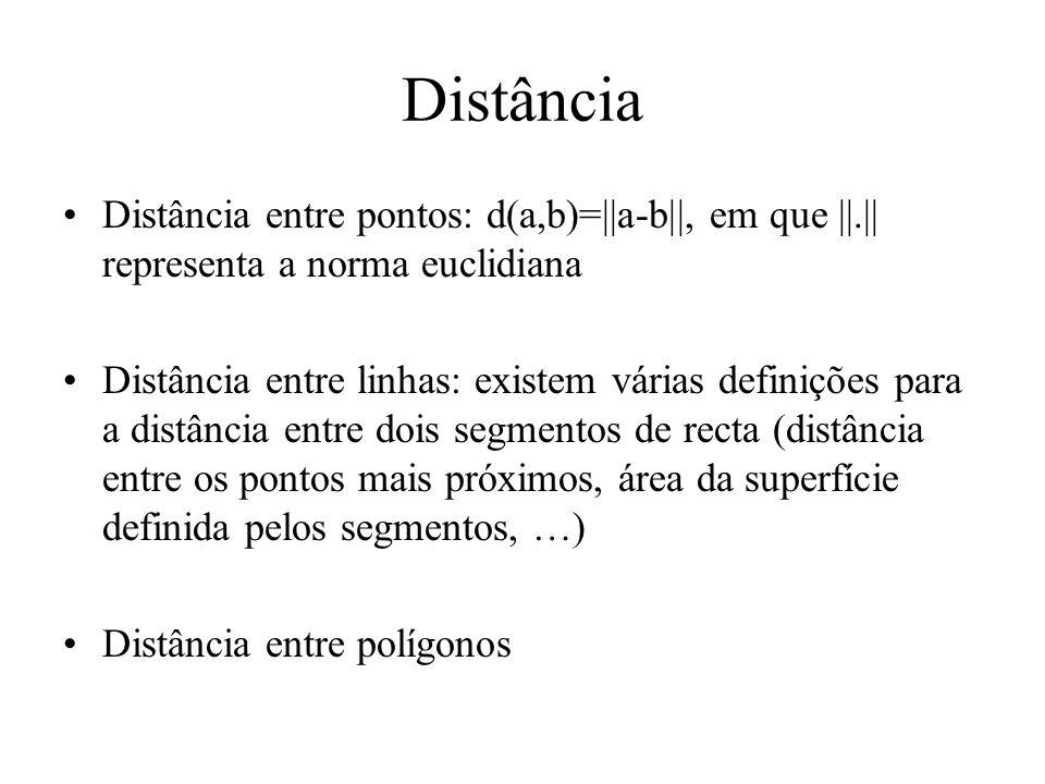 Distância Distância entre pontos: d(a,b)=||a-b||, em que ||.|| representa a norma euclidiana Distância entre linhas: existem várias definições para a