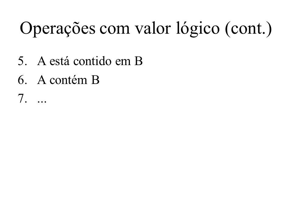 Operações com valor lógico (cont.) 5.A está contido em B 6.A contém B 7....