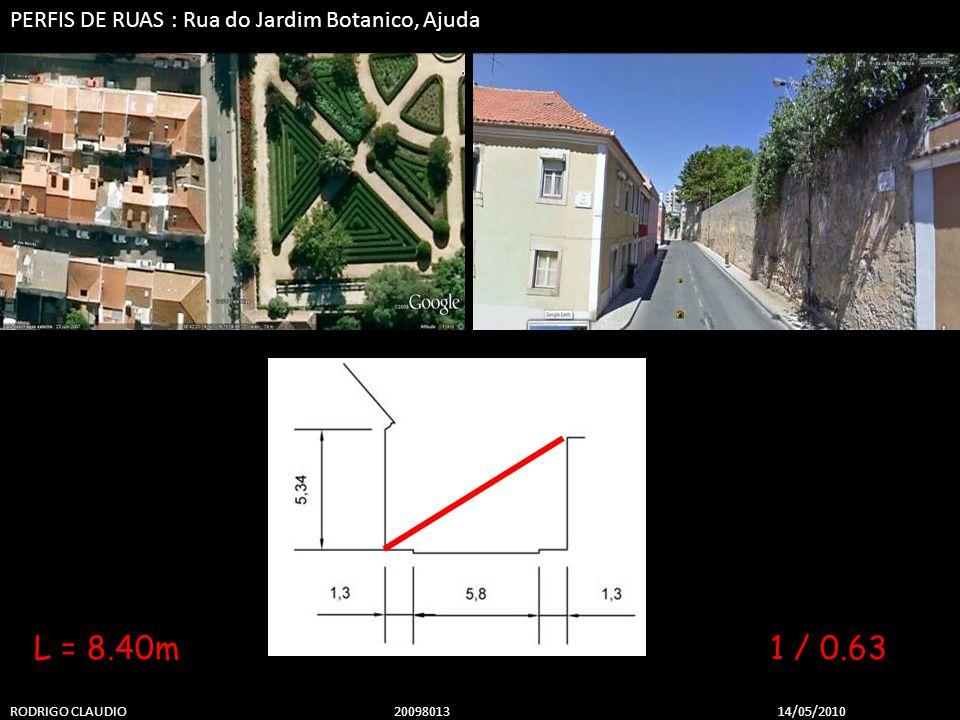 PERFIS DE RUAS : Rua do Jardim Botanico, Ajuda RODRIGO CLAUDIO 2009801314/05/2010 1 / 0.63L = 8.40m