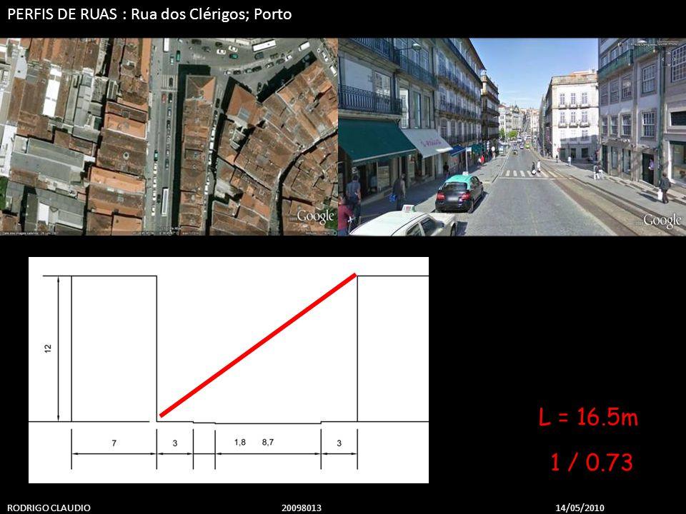 PERFIS DE RUAS : Rua dos Clérigos; Porto RODRIGO CLAUDIO 2009801314/05/2010 1 / 0.73 L = 16.5m