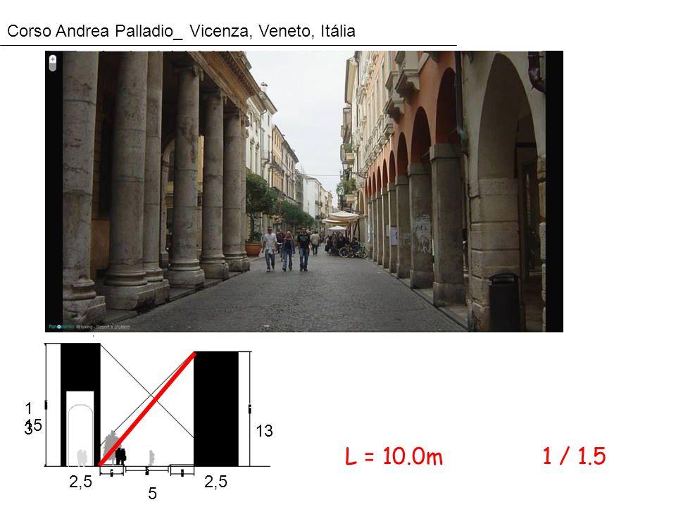 Corso Andrea Palladio_ Vicenza, Veneto, Itália 1313 15 13 2,5 5 1 / 1.5L = 10.0m