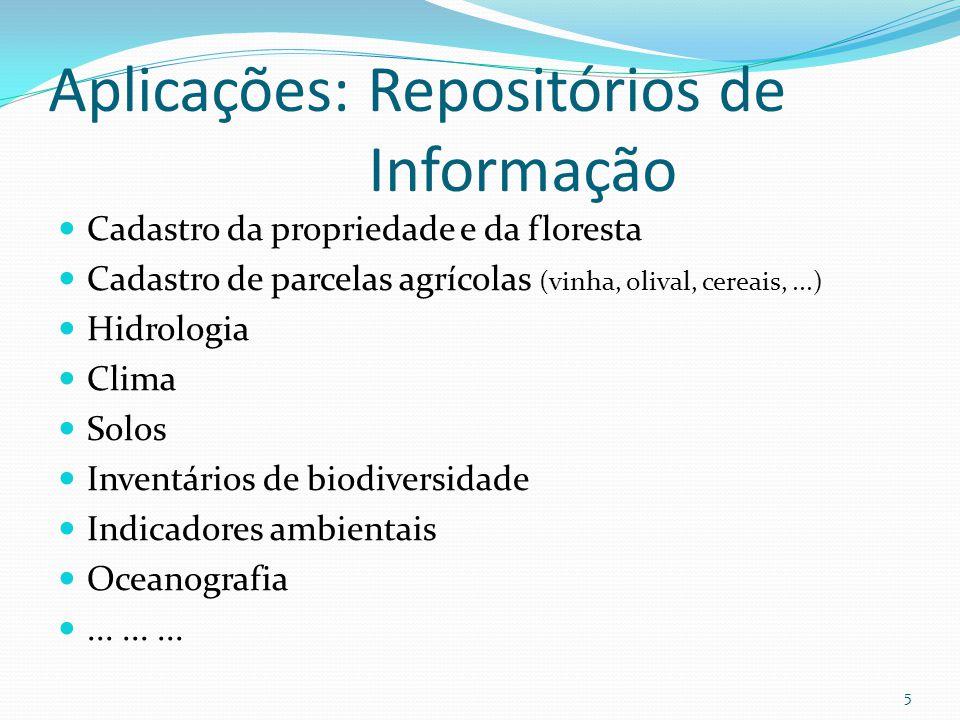 Aplicações: Repositórios de Informação Cadastro da propriedade e da floresta Cadastro de parcelas agrícolas (vinha, olival, cereais,...) Hidrologia Cl