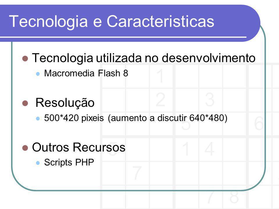 Tecnologia e Caracteristicas Tecnologia utilizada no desenvolvimento Macromedia Flash 8 Resolução 500*420 pixeis (aumento a discutir 640*480) Outros Recursos Scripts PHP