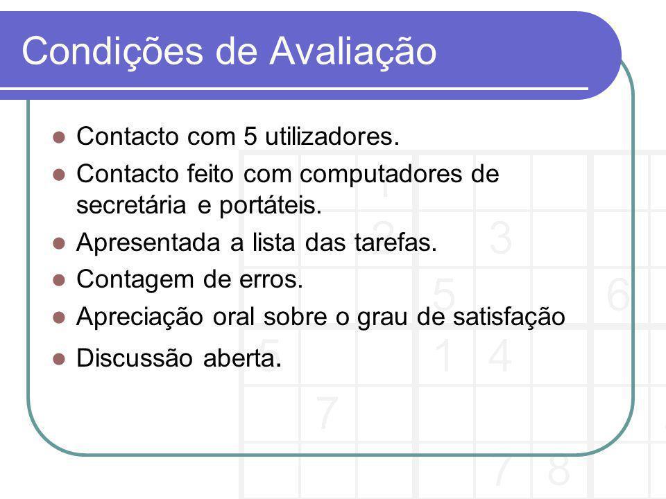 Condições de Avaliação Contacto com 5 utilizadores.