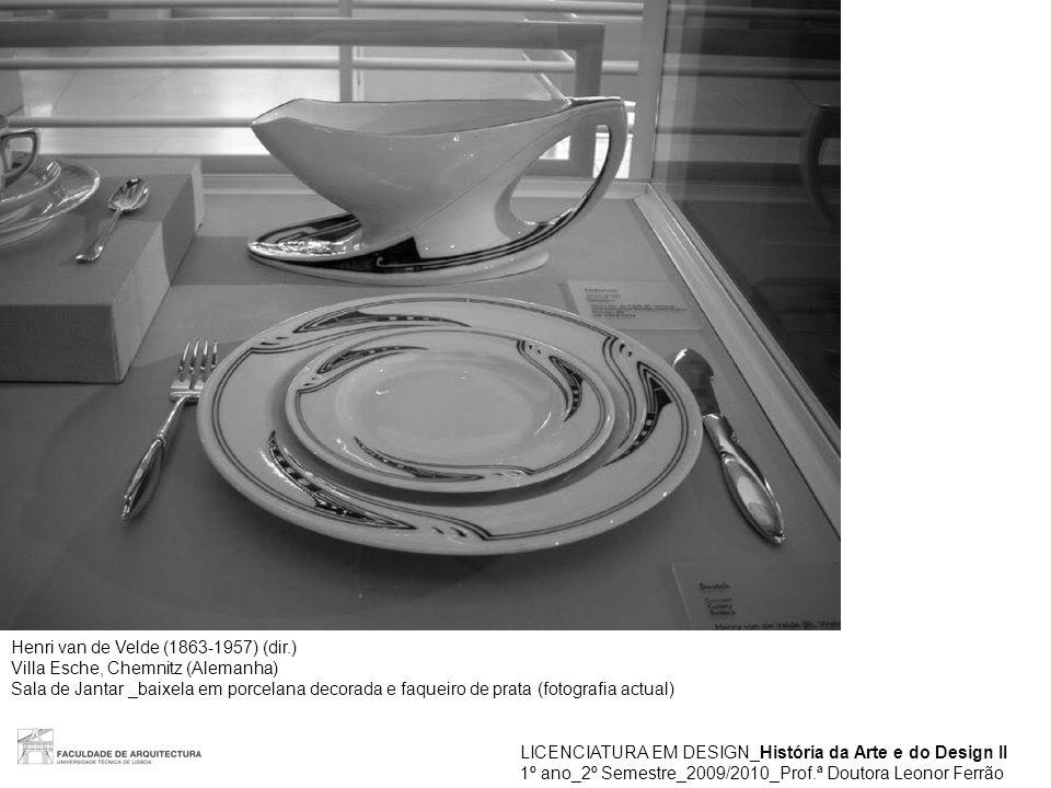 LICENCIATURA EM DESIGN_História da Arte e do Design II 1º ano_2º Semestre_2009/2010_Prof.ª Doutora Leonor Ferrão Henri van de Velde (1863-1957) (dir.)