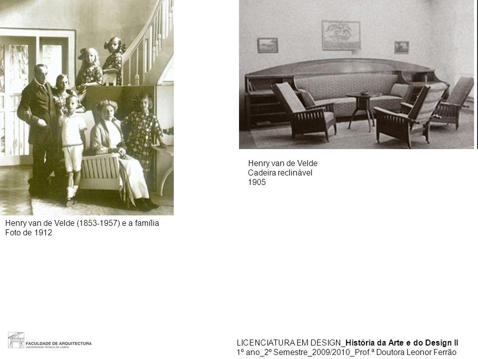 LICENCIATURA EM DESIGN_História da Arte e do Design II 1º ano_2º Semestre_2009/2010_Prof.ª Doutora Leonor Ferrão Henry van de Velde (1853-1957) e a família Foto de 1912 Henry van de Velde Cadeira reclinável 1905