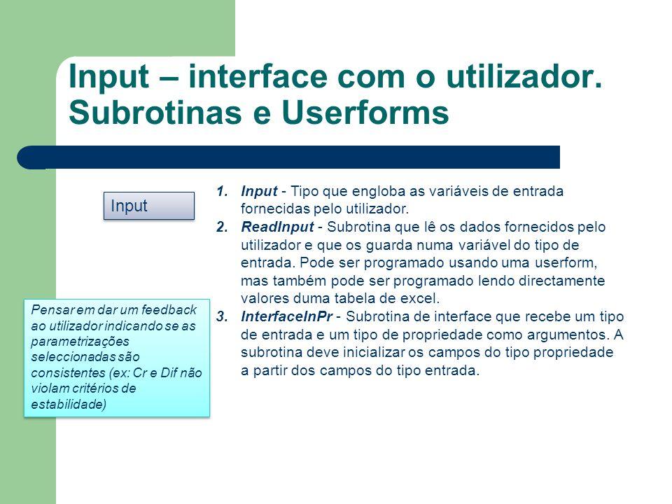 Input – interface com o utilizador. Subrotinas e Userforms Input 1.Input - Tipo que engloba as variáveis de entrada fornecidas pelo utilizador. 2.Read