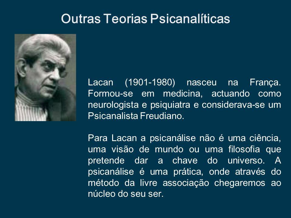 Lacan (1901-1980) nasceu na França. Formou-se em medicina, actuando como neurologista e psiquiatra e considerava-se um Psicanalista Freudiano. Para La