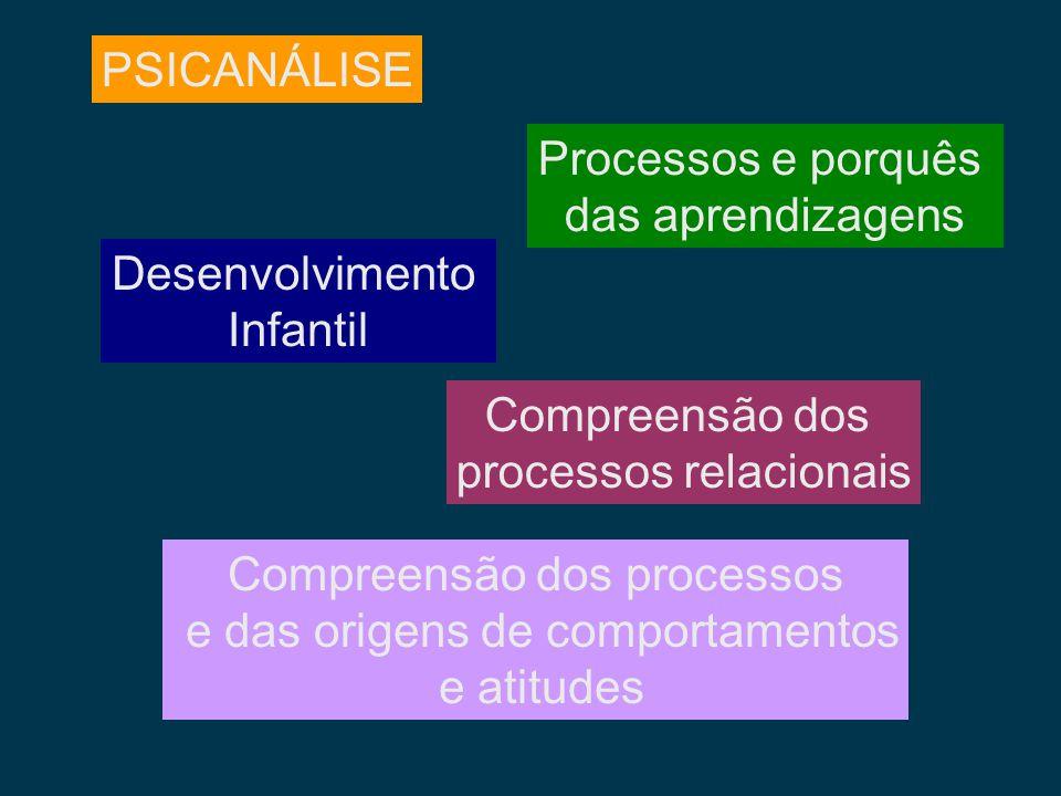 PSICANÁLISE Desenvolvimento Infantil Processos e porquês das aprendizagens Compreensão dos processos e das origens de comportamentos e atitudes Compre