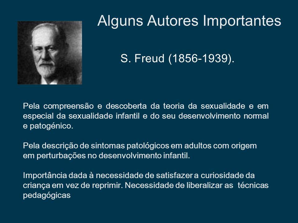 Alguns Autores Importantes Pela compreensão e descoberta da teoria da sexualidade e em especial da sexualidade infantil e do seu desenvolvimento norma