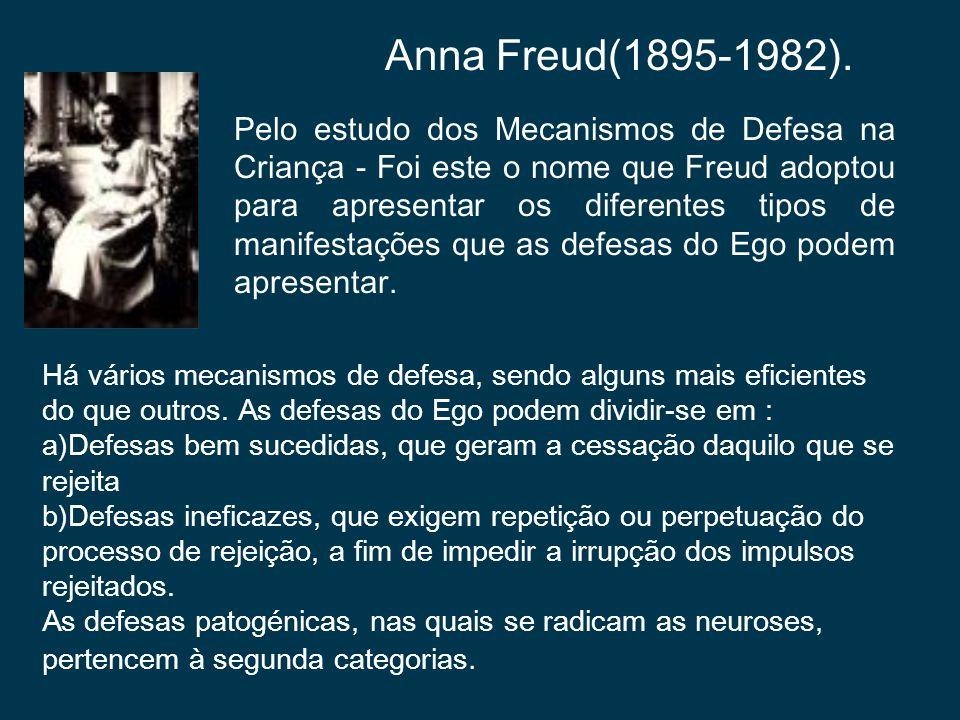 Anna Freud(1895-1982). Há vários mecanismos de defesa, sendo alguns mais eficientes do que outros. As defesas do Ego podem dividir-se em : a)Defesas b