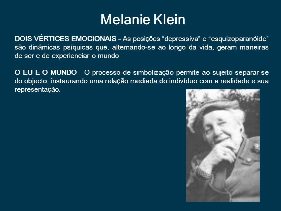 Melanie Klein DOIS V É RTICES EMOCIONAIS - As posi çõ es depressiva e esquizoparan ó ide s ã o din â micas ps í quicas que, alternando-se ao longo da