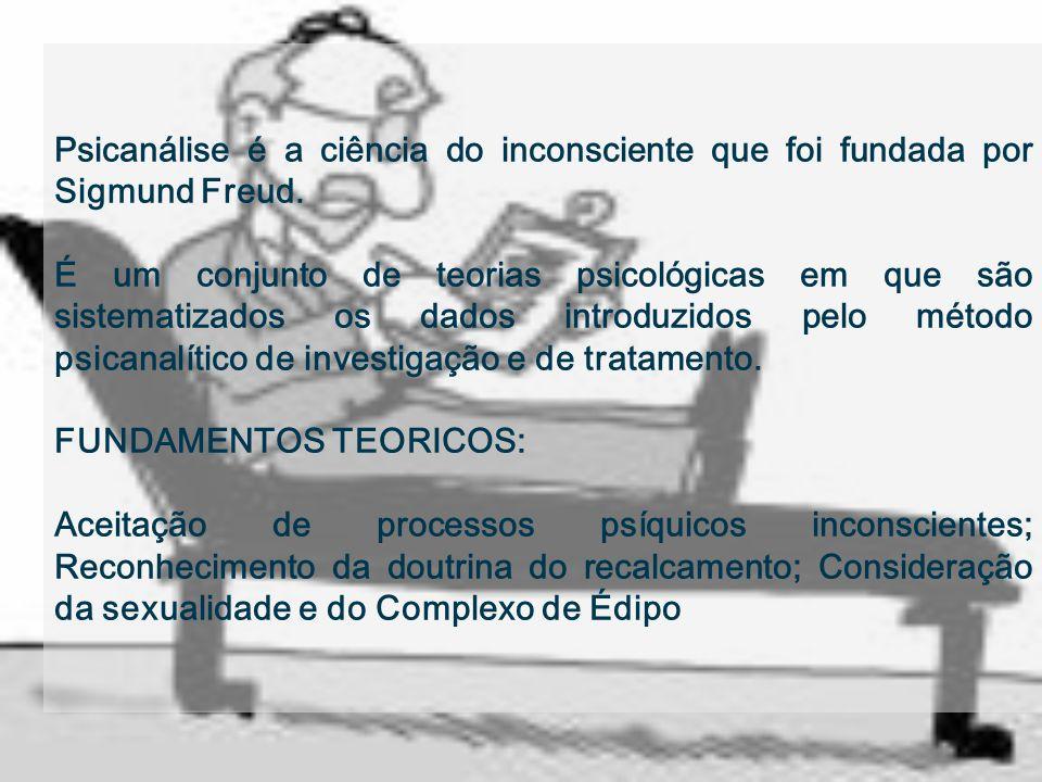 Psicanálise é a ciência do inconsciente que foi fundada por Sigmund Freud. É um conjunto de teorias psicológicas em que são sistematizados os dados in