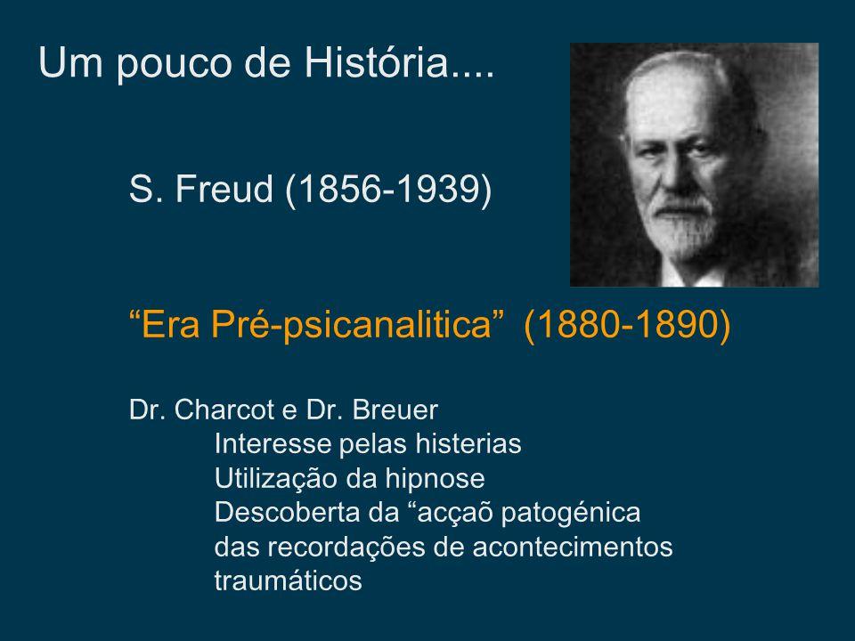 Um pouco de História.... S. Freud (1856-1939) Era Pré-psicanalitica (1880-1890) Dr. Charcot e Dr. Breuer Interesse pelas histerias Utilização da hipno