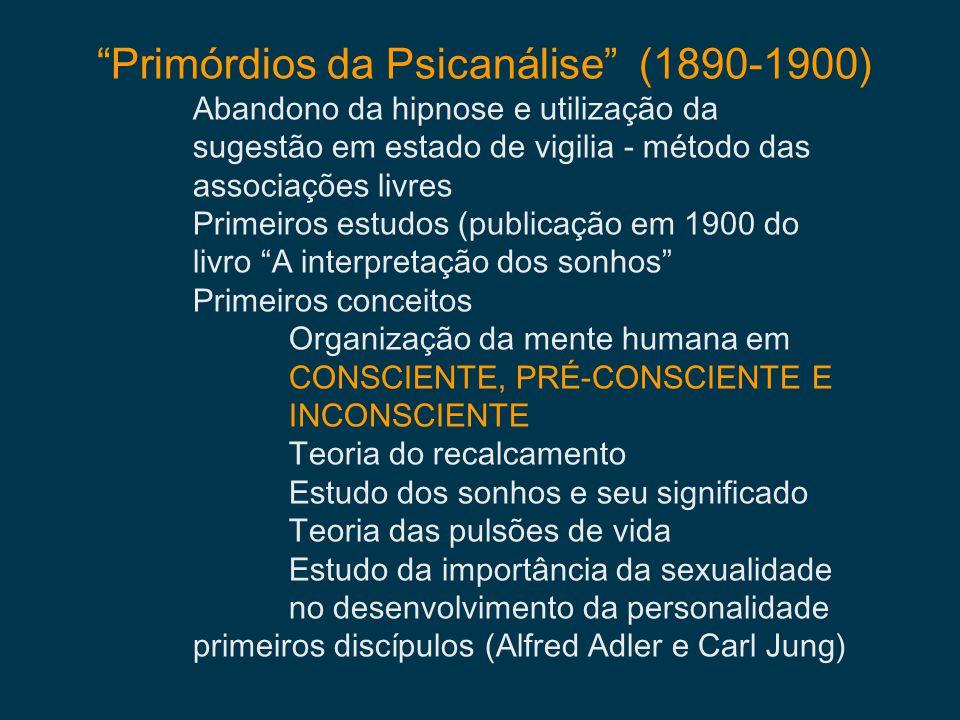 Primórdios da Psicanálise (1890-1900) Abandono da hipnose e utilização da sugestão em estado de vigilia - método das associações livres Primeiros estu