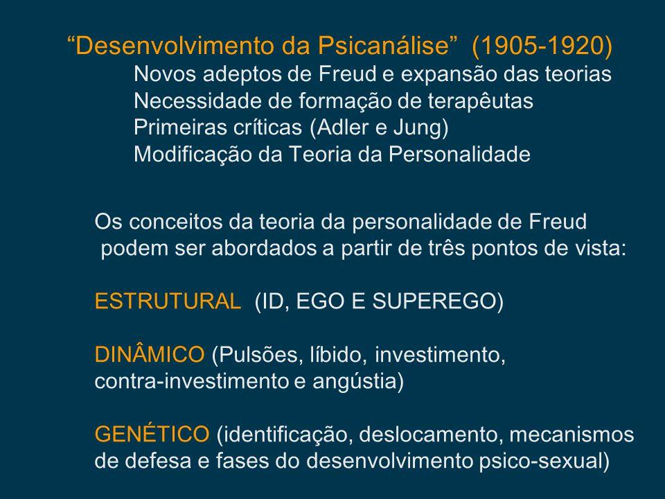Desenvolvimento da Psicanálise (1905-1920) Novos adeptos de Freud e expansão das teorias Necessidade de formação de terapêutas Primeiras críticas (Adl