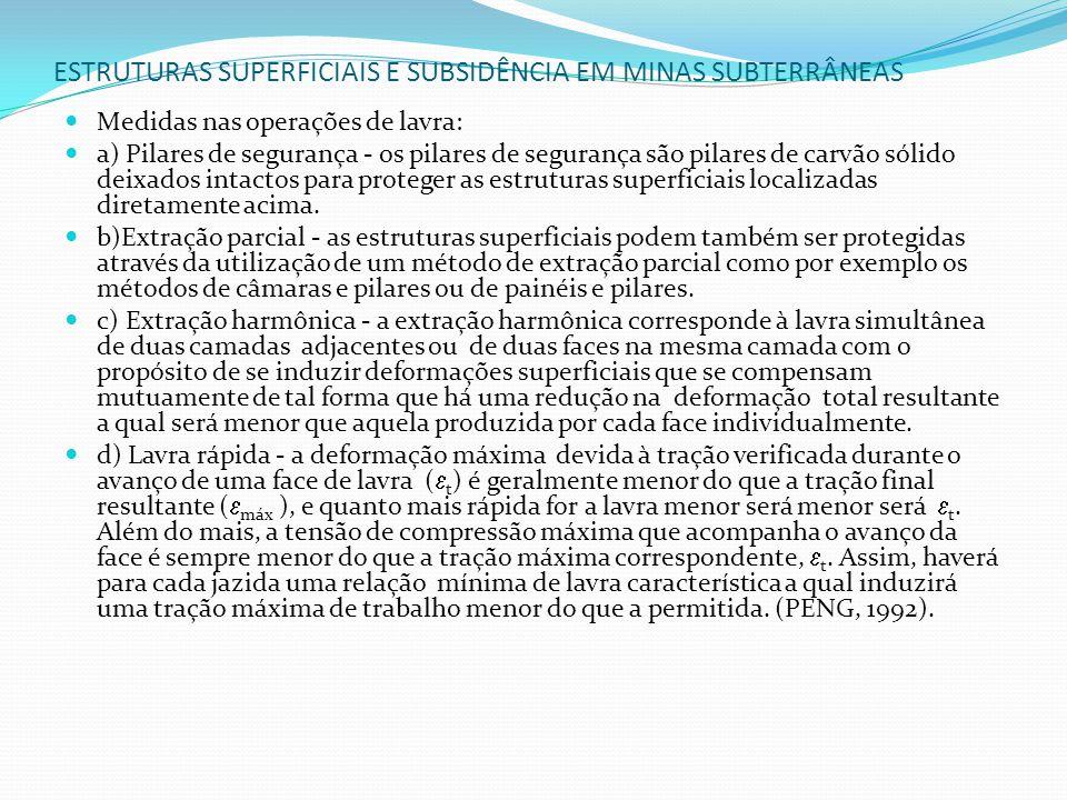 ESTRUTURAS SUPERFICIAIS E SUBSIDÊNCIA EM MINAS SUBTERRÂNEAS Medidas nas operações de lavra: a) Pilares de segurança - os pilares de segurança são pila