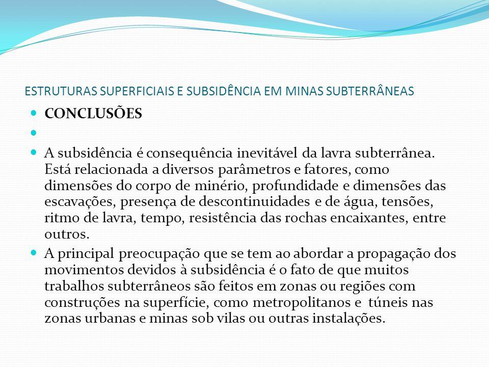 ESTRUTURAS SUPERFICIAIS E SUBSIDÊNCIA EM MINAS SUBTERRÂNEAS CONCLUSÕES A subsidência é consequência inevitável da lavra subterrânea. Está relacionada