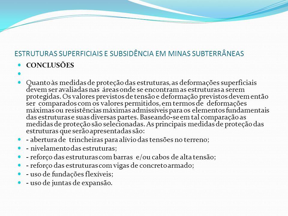 ESTRUTURAS SUPERFICIAIS E SUBSIDÊNCIA EM MINAS SUBTERRÂNEAS CONCLUSÕES Quanto às medidas de proteção das estruturas, as deformações superficiais devem