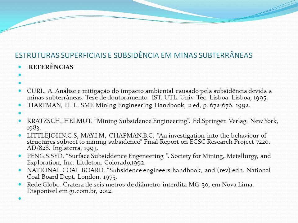 ESTRUTURAS SUPERFICIAIS E SUBSIDÊNCIA EM MINAS SUBTERRÂNEAS REFERÊNCIAS CURI., A. Análise e mitigação do impacto ambiental causado pela subsidência de