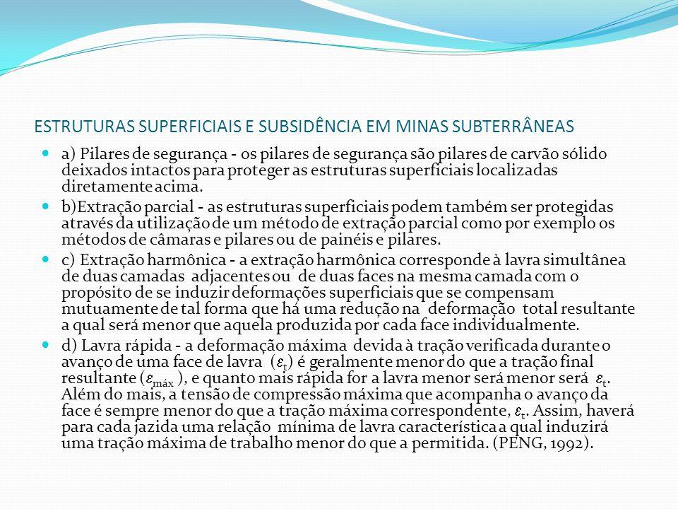 ESTRUTURAS SUPERFICIAIS E SUBSIDÊNCIA EM MINAS SUBTERRÂNEAS Em áreas sujeitas à subsidência as pontes muito extensas (A) serão subdivididas (B)