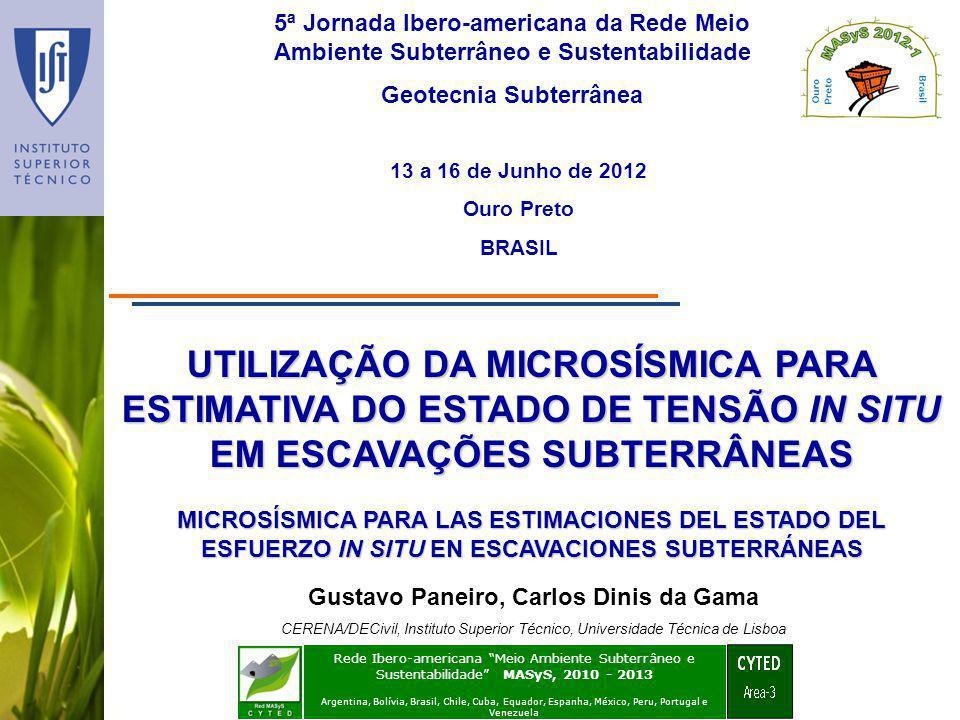 UTILIZAÇÃO DA MICROSÍSMICA PARA ESTIMATIVA DO ESTADO DE TENSÃO IN SITU EM ESCAVAÇÕES SUBTERRÂNEAS 5ª Jornada Ibero-americana da Rede Meio Ambiente Sub