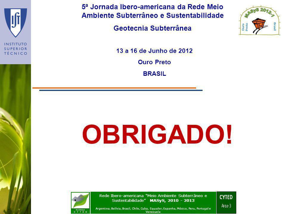 5ª Jornada Ibero-americana da Rede Meio Ambiente Subterrâneo e Sustentabilidade Geotecnia Subterrânea 13 a 16 de Junho de 2012 Ouro Preto BRASIL Rede