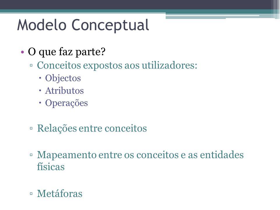 Modelo Conceptual O que faz parte? Conceitos expostos aos utilizadores: Objectos Atributos Operações Relações entre conceitos Mapeamento entre os conc