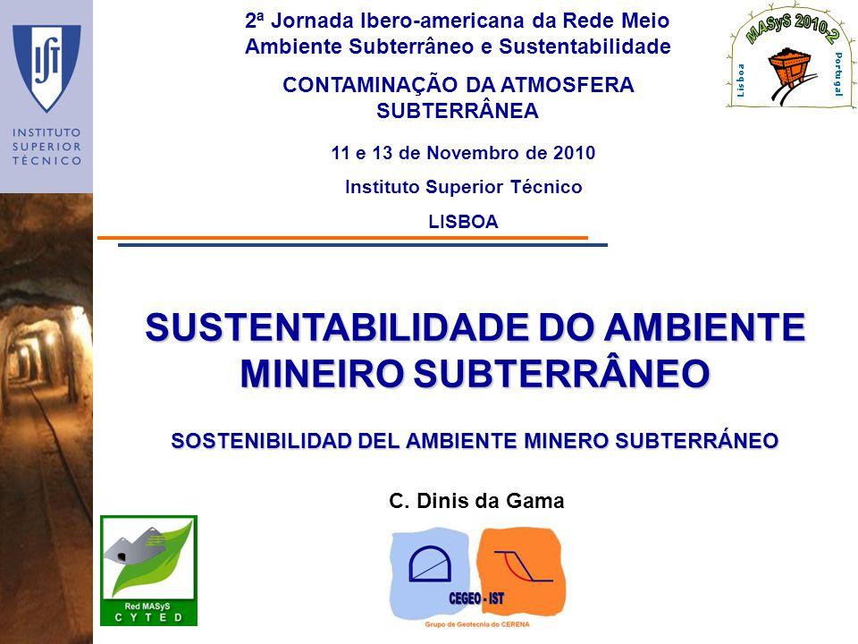 SUSTENTABILIDADE DO AMBIENTE MINEIRO SUBTERRÂNEO 2ª Jornada Ibero-americana da Rede Meio Ambiente Subterrâneo e Sustentabilidade CONTAMINAÇÃO DA ATMOS
