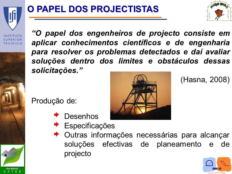 O PAPEL DOS PROJECTISTAS O papel dos engenheiros de projecto consiste em aplicar conhecimentos científicos e de engenharia para resolver os problemas