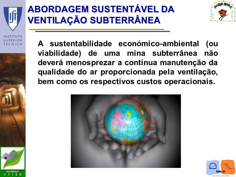 ABORDAGEM SUSTENTÁVEL DA VENTILAÇÃO SUBTERRÂNEA A sustentabilidade económico-ambiental (ou viabilidade) de uma mina subterrânea não deverá menosprezar