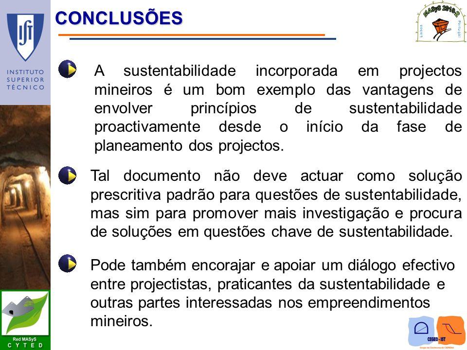 CONCLUSÕES A sustentabilidade incorporada em projectos mineiros é um bom exemplo das vantagens de envolver princípios de sustentabilidade proactivamen
