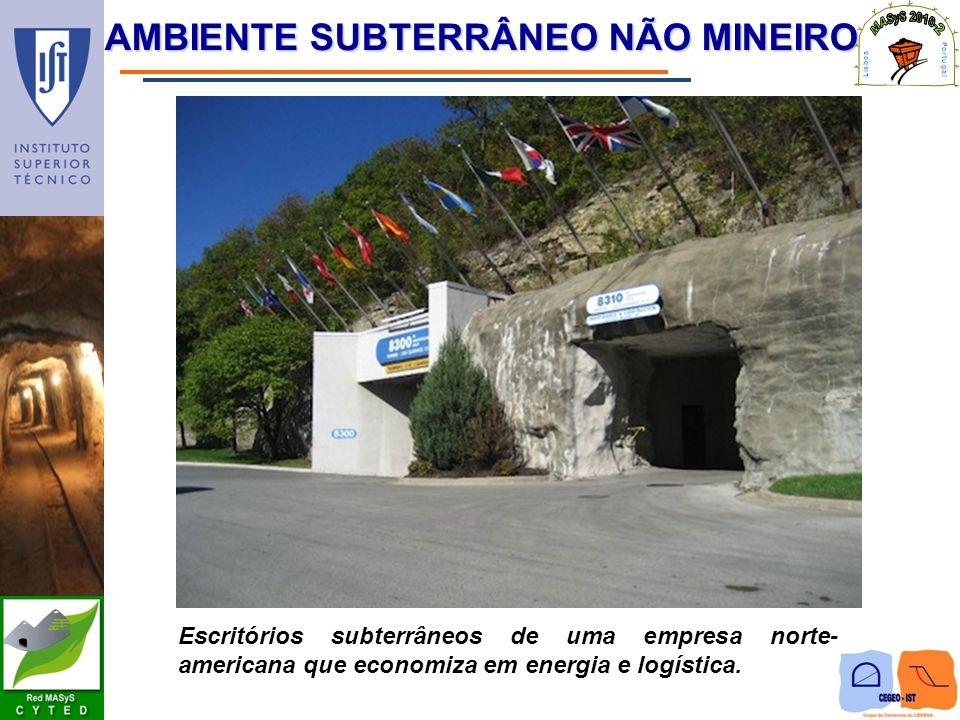 AMBIENTE SUBTERRÂNEO NÃO MINEIRO Escritórios subterrâneos de uma empresa norte- americana que economiza em energia e logística.