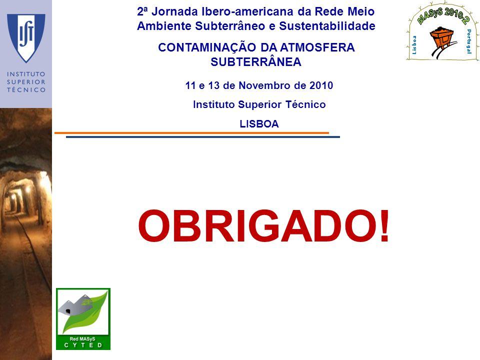 2ª Jornada Ibero-americana da Rede Meio Ambiente Subterrâneo e Sustentabilidade CONTAMINAÇÃO DA ATMOSFERA SUBTERRÂNEA 11 e 13 de Novembro de 2010 Inst