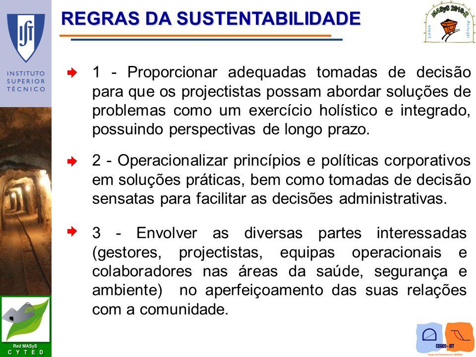 REGRAS DA SUSTENTABILIDADE REGRAS DA SUSTENTABILIDADE 1 - Proporcionar adequadas tomadas de decisão para que os projectistas possam abordar soluções d