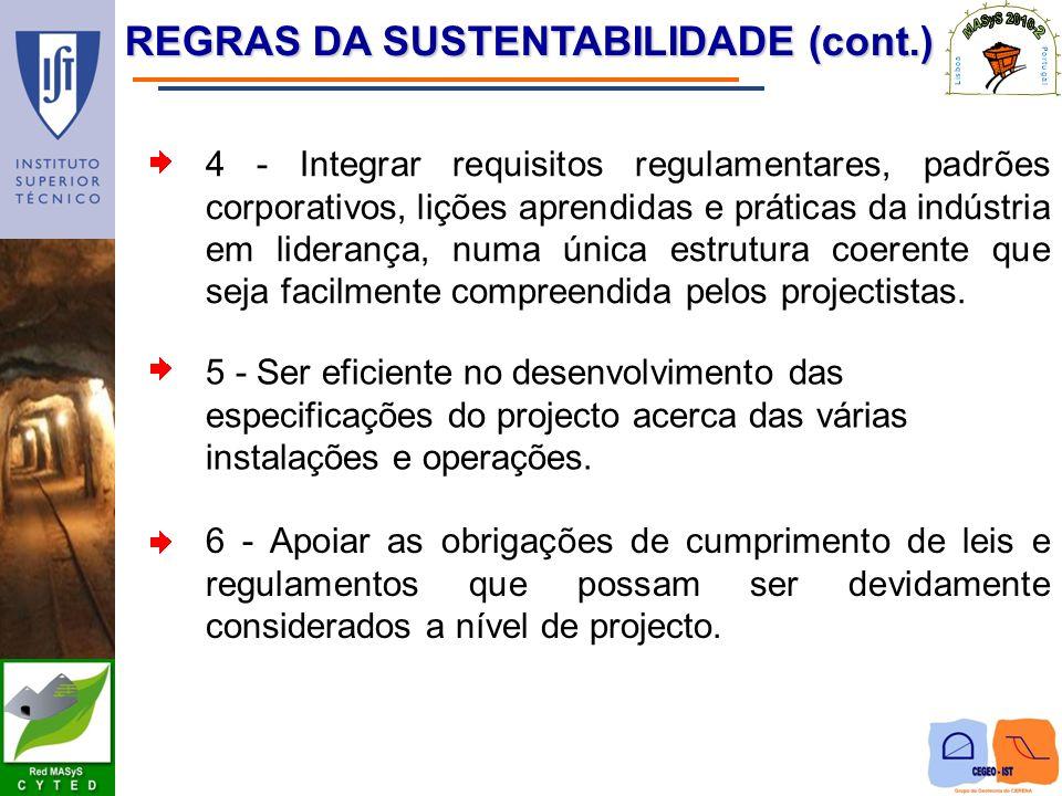 REGRAS DA SUSTENTABILIDADE (cont.) 4 - Integrar requisitos regulamentares, padrões corporativos, lições aprendidas e práticas da indústria em lideranç