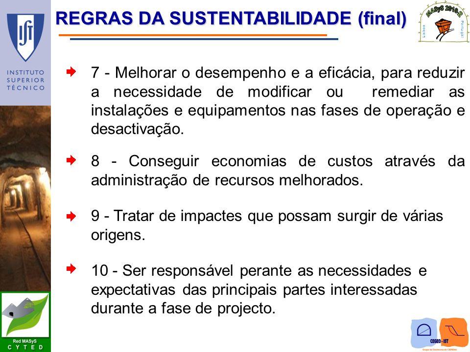 REGRAS DA SUSTENTABILIDADE (final) 7 - Melhorar o desempenho e a eficácia, para reduzir a necessidade de modificar ou remediar as instalações e equipa