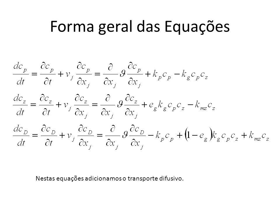Forma geral das Equações Nestas equações adicionamos o transporte difusivo.