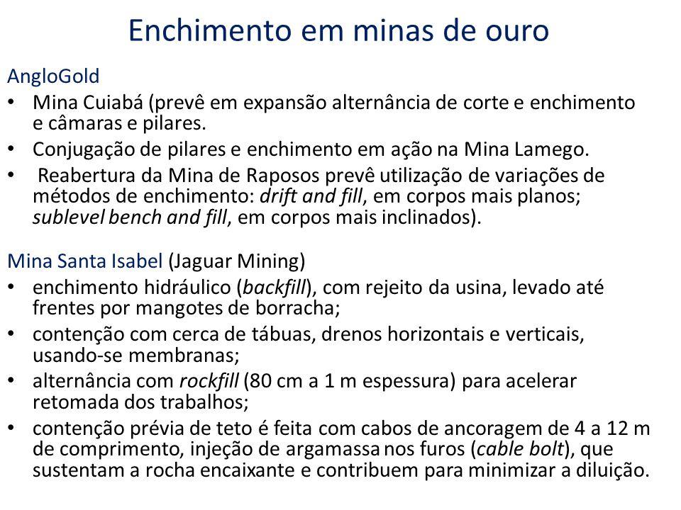 Enchimento em minas de ouro AngloGold Mina Cuiabá (prevê em expansão alternância de corte e enchimento e câmaras e pilares. Conjugação de pilares e en